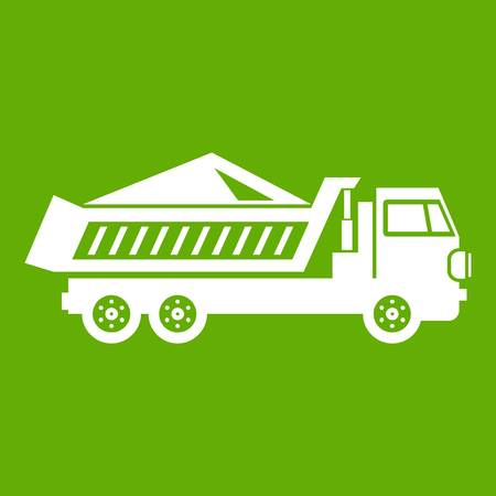 Dump track icon white isolated on green background. Vector illustration