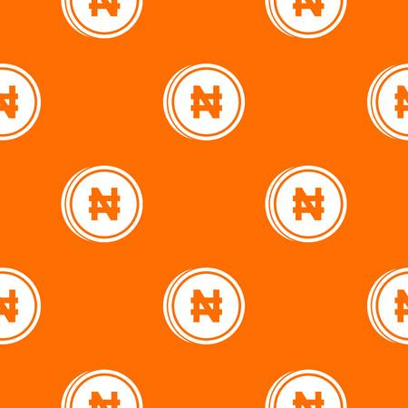 Coin naira pattern repeat seamless in orange color for any design. Vector geometric illustration