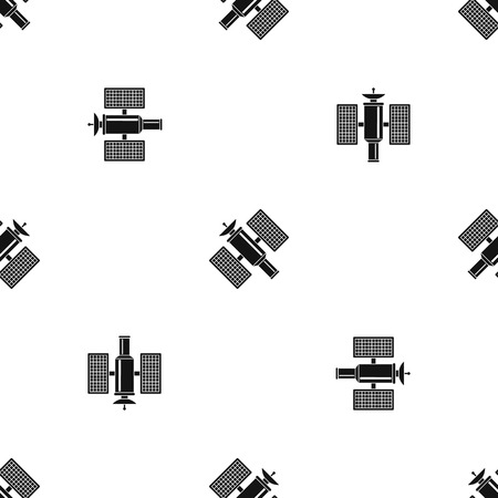 Space satellite pattern repeat seamless in black color for any design. Vector geometric illustration
