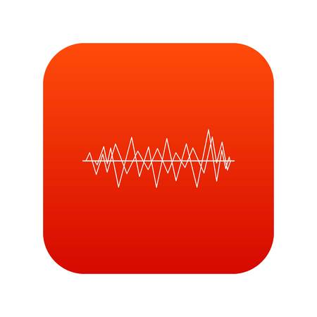 soundtrack: Sound wave icon digital red for any design isolated on white vector illustration