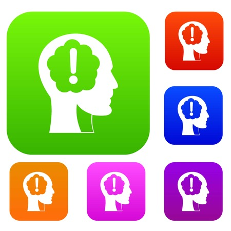 Head with exclamation mark inside set icon color in flat style isolated on white. Collection sings vector illustration Vektoros illusztráció