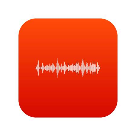 soundtrack: Musical pulse icon digital red for any design isolated on white vector illustration