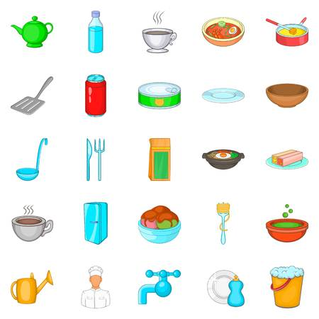 Cuisine icons set, cartoon style