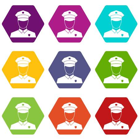 captain cap: Pilot icon set color hexahedron