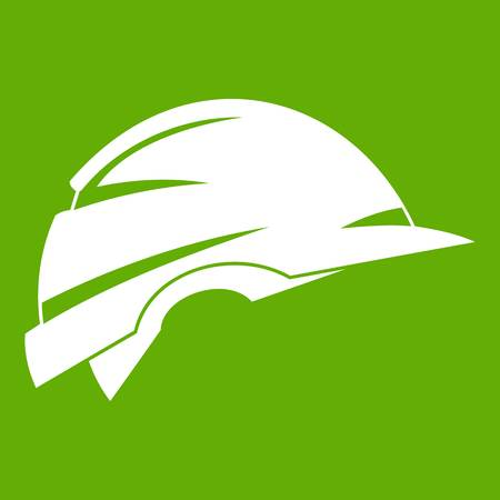 Construction helmet icon green Illustration
