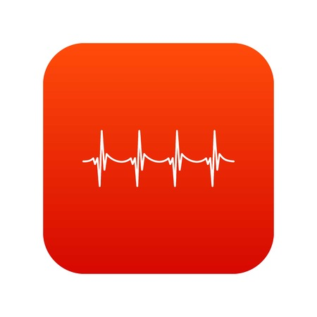 Musical pulse icon digital red