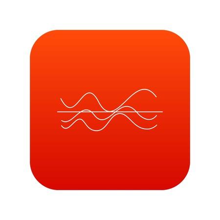 Sound waves icon digital red