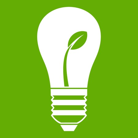 Ecology idea bulb with plant icon green