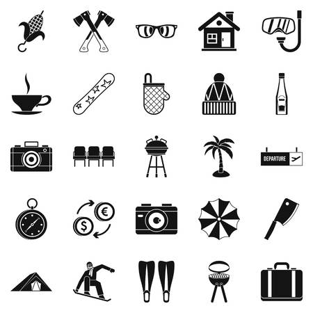 Leave of absence icons set, simple style Illustration