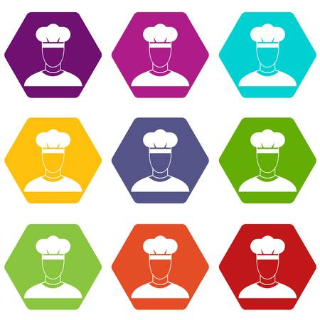Cook icon set color hexahedron Illustration