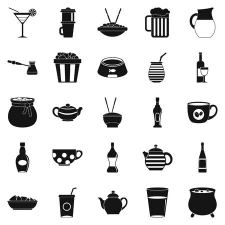 Tableware icons set. Simple set of 25 tableware vector icons for web isolated on white background Illustration