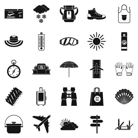 Expected vacation icons set. Simple set of 25 expected vacation vector icons for web isolated on white background