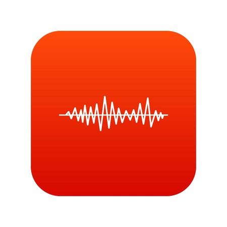 Music sound waves icon digital red for any design isolated on white vector illustration