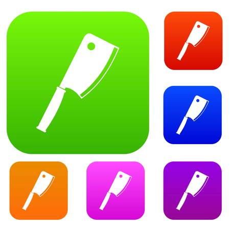 Meat knife set icon color in flat style isolated on white. Collection sings vector illustration