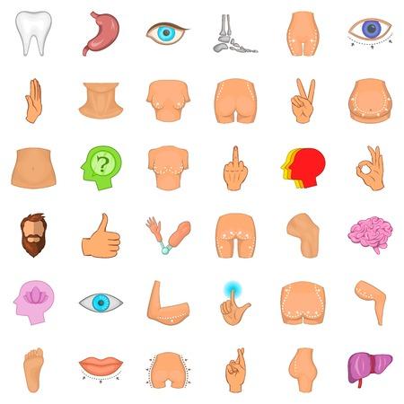 Skeleton icons set. Cartoon style of 36 skeleton vector icons for web isolated on white background