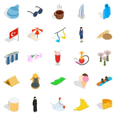 Relaxing place icons set. Isometric set of 25 relaxing place vector icons for web isolated on white background