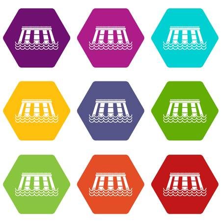 Hydroelectric power station icon set many color hexahedron isolated on white vector illustration Illustration
