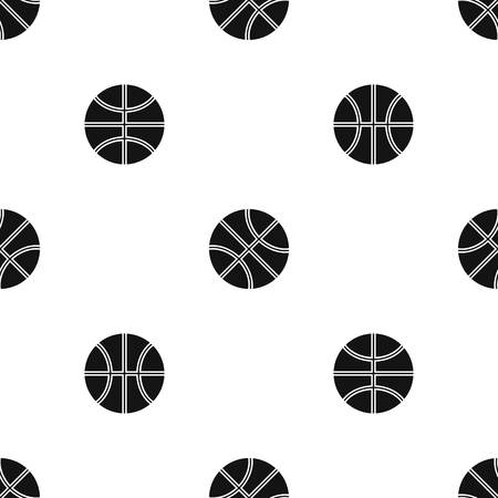 Basketball ball pattern repeat seamless in black color for any design. Vector geometric illustration