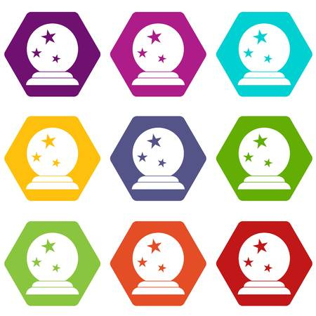Magic ball icon set many color hexahedron isolated on white vector illustration