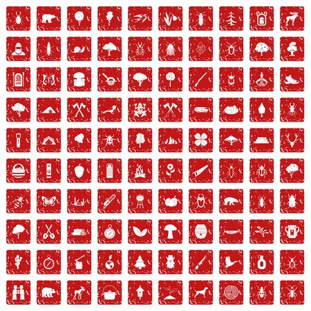 100 forest icons set in grunge style red color isolated on white background vector illustration