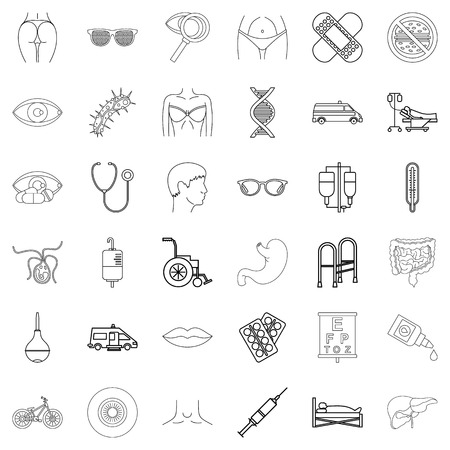 Human health icons set. Outline style of 36 human health vector icons for web isolated on white background Ilustração