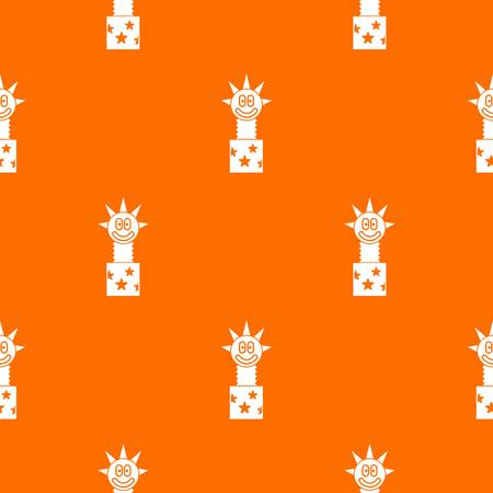 Toy jumping out of box pattern repeat seamless in orange color for any design. Vector geometric illustration Illustration