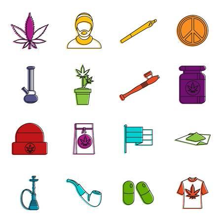 Rastafarian icons set. Doodle illustration of vector icons isolated on white background for any web design Illustration