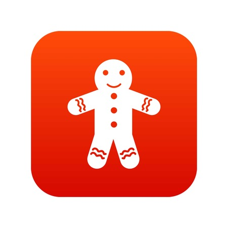 Gingerbread man icon digital red for any design isolated on white vector illustration