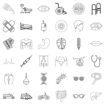 Hospital icons set. Outline style of 36 hospital vector icons for web isolated on white background