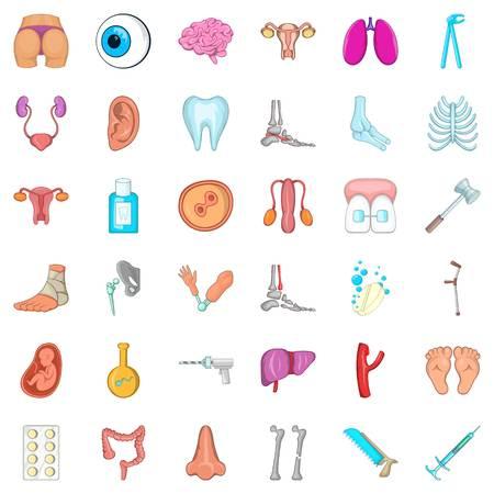belly bandage: Body icons set. Cartoon style of 36 body vector icons for web isolated on white background Illustration