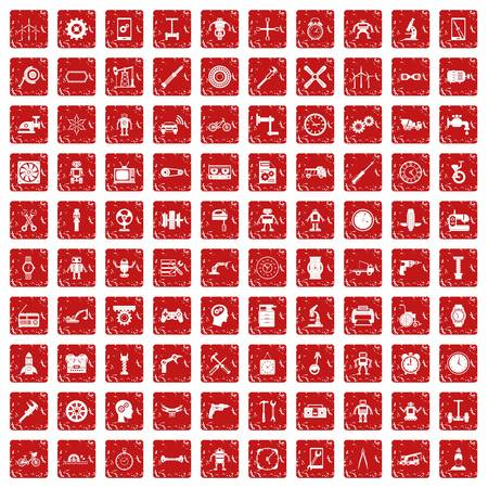 grooves: 100 gear icons set in grunge style red color isolated on white background vector illustration