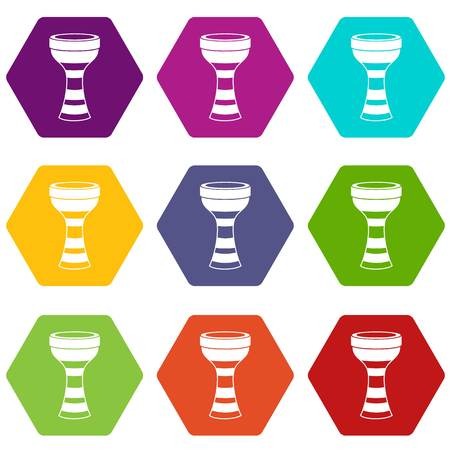 African drum icon set many color hexahedron on white background, vector illustration.