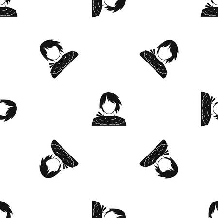 Male shorn pattern repeat seamless in black color for any design. Vector geometric illustration