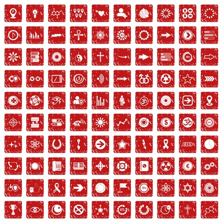 100 graphic elements icons set grunge red 일러스트