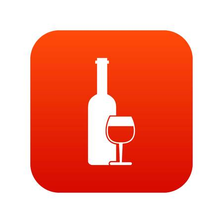 Wine bottle and glass icon digital red