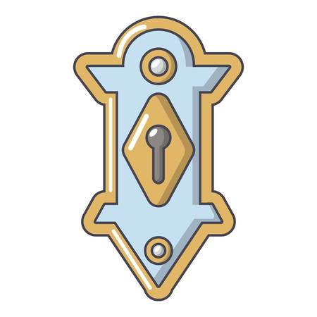 Lock door icon, cartoon style