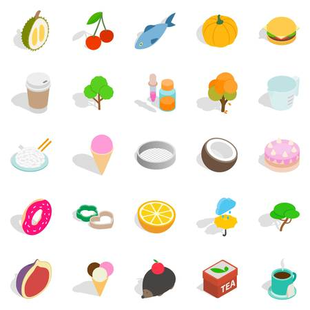 dulcet: Dulcet dessert icons set, isometric style