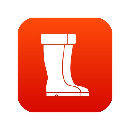 Winter shoes icon digital red