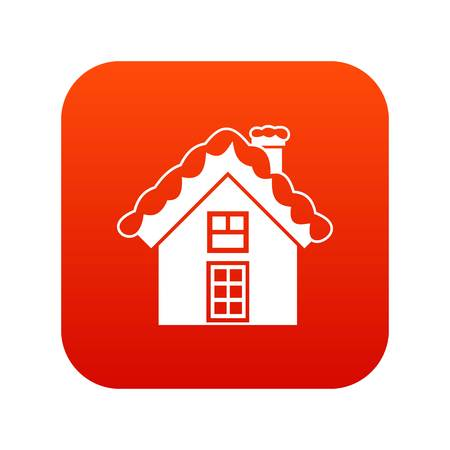Small snowy cottage icon digital red