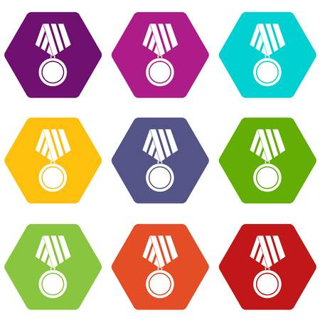 Military medal icon set color hexahedron