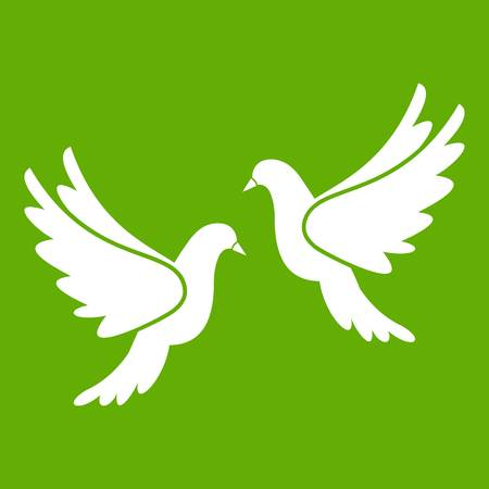 Wedding doves icon green