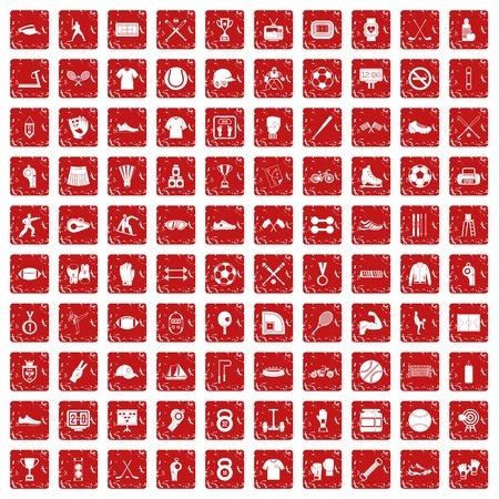 100 atleetpictogrammen geplaatst grunge rood