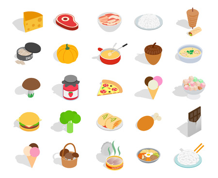 Food icon set. Isometric set of food vector icons for web design isolated on white background