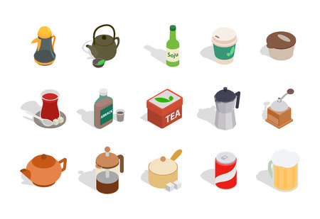 Drinks icon set. Isometric set of drinks vector icons for web design isolated on white background