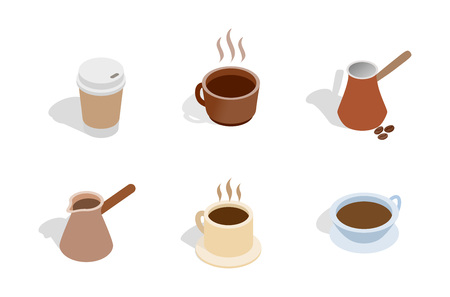 Coffee icon set. Isometric set of coffee vector icons for web design isolated on white background