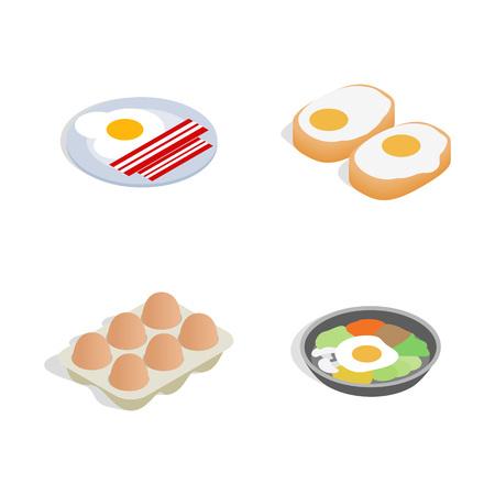 Egg food icon set. Isometric set of egg food vector icons for web design isolated on white background