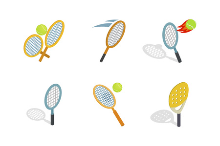Tennis racquet icon set. Isometric set of tennis racquet vector icons for web design isolated on white background
