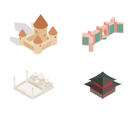 Castle icon set. Isometric set of castle vector icons for web design isolated on white background