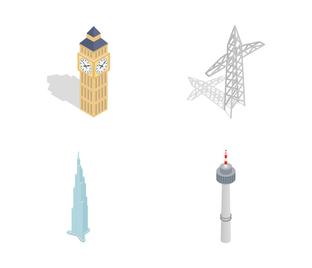 Tower icon set. Isometric set of tower vector icons for web design isolated on white background