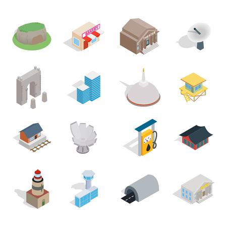 Building icon set. Isometric set of building vector icons for web design isolated on white background